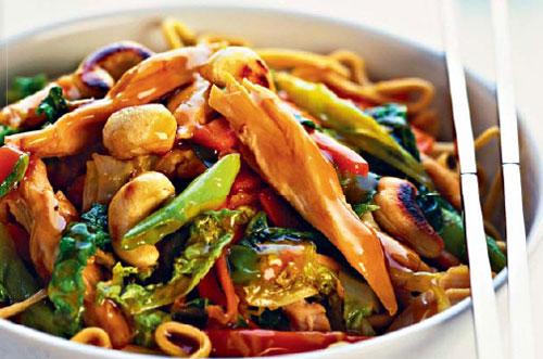 Жареные овощи с грибами